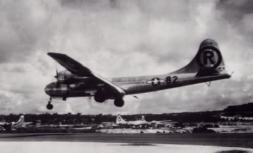 Enola Gay returning from Hiroshima mission, Tinian Field, August 6, 1945